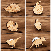 Hfarich Cartoon Wood Otter Brooches For Women Kids Dinosaur Badge Lapel Pins Bird Mickey Clothes School Bag Brooch 2019