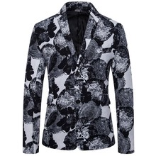 M-4XL New Printing Mans Jacket Plus Size Two Buttons Male Blazer For Men Casual Business Tops Man Mostly