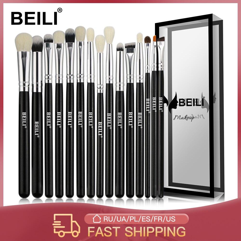 BEILI Black 15-18 шт кисти для макияжа натуральные козьего волоса пони тени для век растушевка подводка для глаз бровей Смоки Тени набор кистей