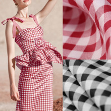 141CM Wide 100G/M Red Black Check Print Ramie Summer Spring Pants Dress Shirt Blouse Jacket Fabric E1289(China)
