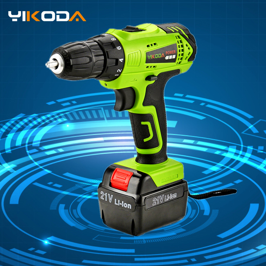 YIKODA 21V Electric Drill Rechargeable Lithium Battery DIY Mini  Cordless Screwdriver Double Speed Household Power Tools