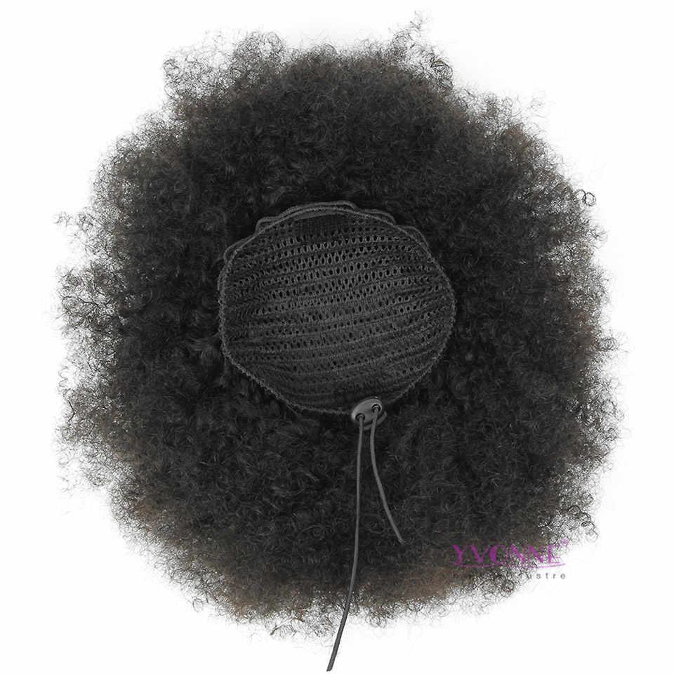 [Yvonne] афро кудрявый шнурок конский хвост человеческие волосы на заколках для наращивания высокое соотношение бразильские девственные волосы натуральный цвет