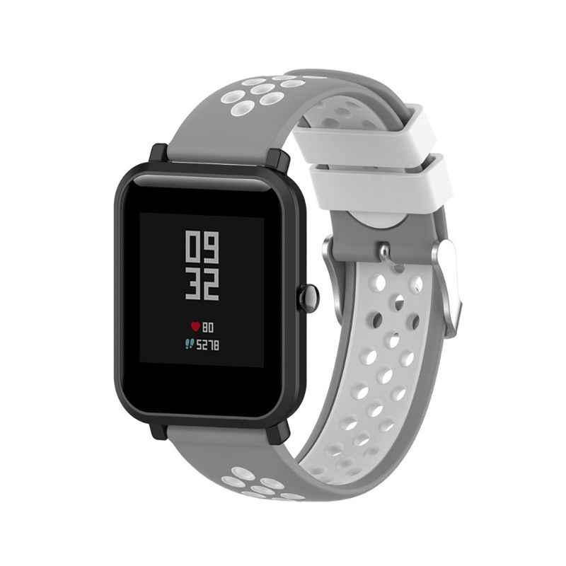 Reloj de silicona suave de dos colores, pulsera de repuesto para Xiaomi Huami Amazfit Bip BIT PACE Lite Youth Smart Watch