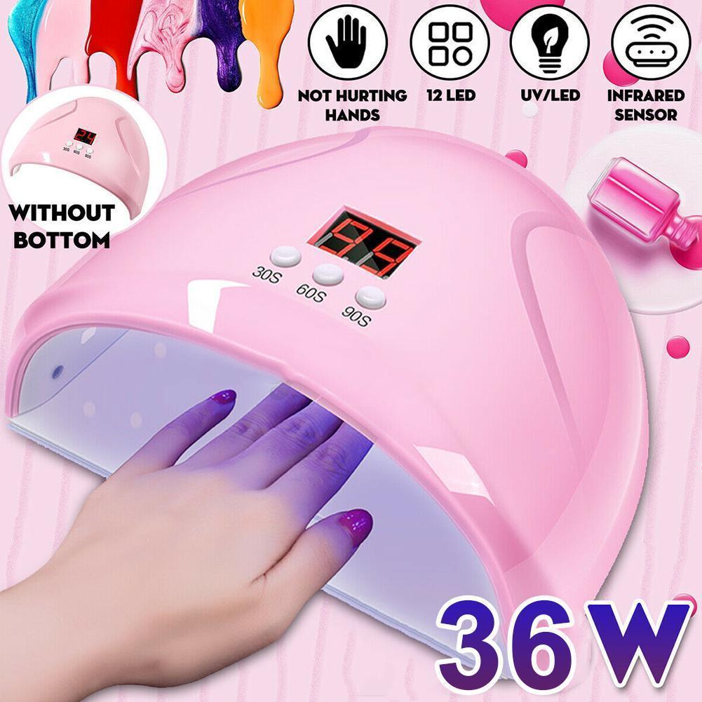 36W ייבוש ריפוי ציפורניים לכה מניקור מכונת USB LED נייל מייבש מנורת UV ג 'ל לק מהיר ריפוי אור טיימר חיישן