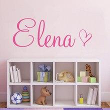 Decalque da parede da arte simples nome personalizado com um coração decoração para crianças quarto vinil personalizado nome do bebê sala de jogos adesivo y455