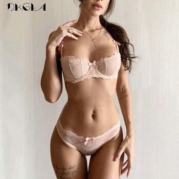 Ultrathin lingerie set plus size bras A B C Cup sexy lace bra set transparent women underwear black embroidery Bow 2