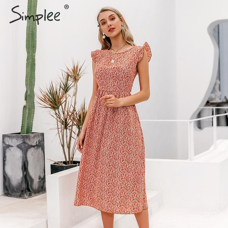 Simplee Bohimian Style Women Summer Midi Dress Elegant Floral Print Female Long Sundress A-line Ruffle Ladies Beach Midi Dresses