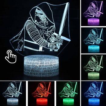 Star Wars Darth Vader Anime Figure Acrylic 3D Illusion LED Lamp Colourful NightLight Death Star Mask Yoda Model Toys Child Gift 30