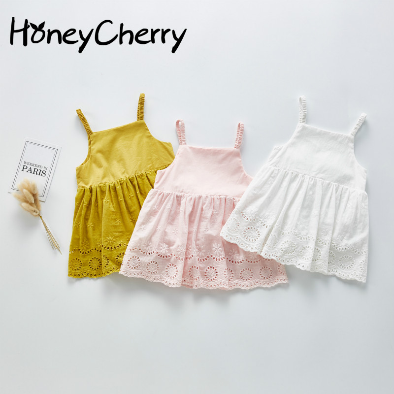 2020 Summer Baby Bodysuit Girl Baby Sling Solid Color Flower Skirt Creeper Suit Baby Girl Clothes