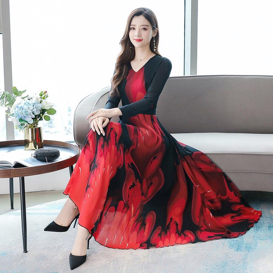 Autumn Winter 3XL Plus Size Long Sleeve Maxi Dress 2019 Vintage Print Chiffon Midi Dresses Elegant Women Bodycon Party Vestidos