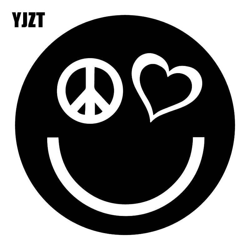 YJZT 15X15 سنتيمتر السلام الحب سعيد مبتسم الوجه نافذة شارات الفينيل سيارة لاصقة تزيين C25-0883