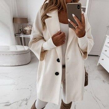 2020 Winter Women Coat Casual Lapel Collar Open Stitch Woolen Female Coat Fashion Warm Pocket Solid Plus Size Long Outwear