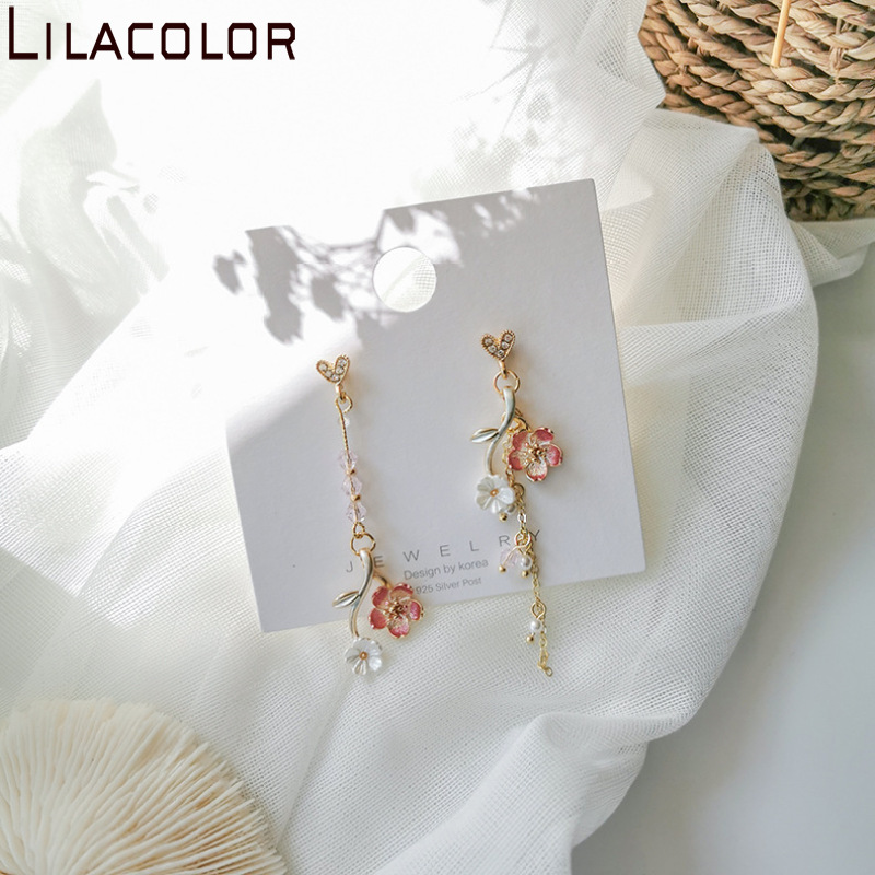 Lilacolor Flower Long <font><b>Tasell</b></font> Drop <font><b>Earrings</b></font> for Women 2020 New Fashion Grils Dangle <font><b>Earring</b></font> S925 Silver Pin Girls Pink Jewerly image