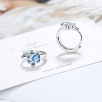 925 sterling silver Stud Earring Blue crystal Cat Claw Design Earrings For Women Girl Ear Jewelry New Fashion