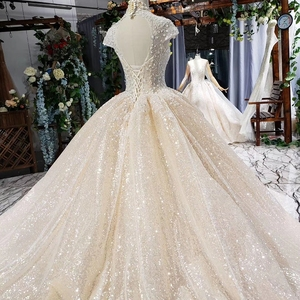 Image 5 - HTL639 shiny wedding dresses with glitter high neck cap sleeve crystal lace wedding gowns with train vestidos de novia vintage