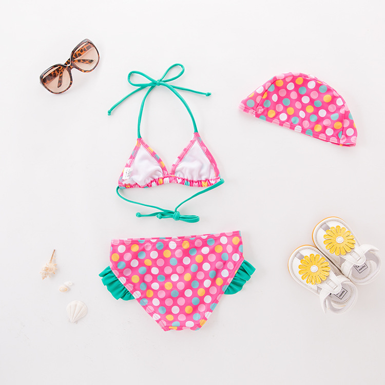 Girls' Two-piece Swimsuit Colorful Dots With Hat-KID'S Swimwear Hot Springs Clothing