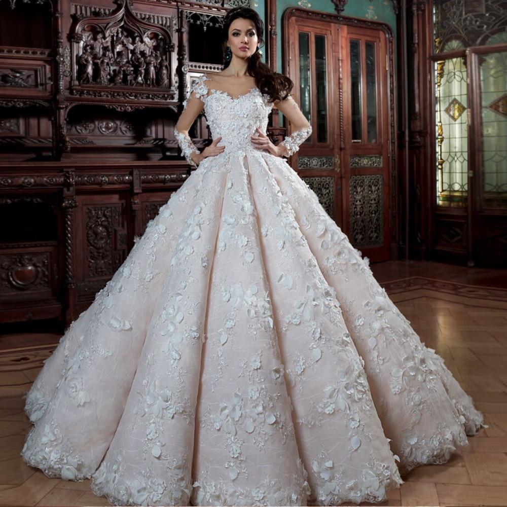 2020 Luxury Ball Gown Wedding Dresses With Picture Veil Robe De Mariee Princesse De Luxe Beading Appliques Lace Flowers Dresses