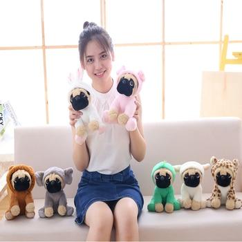 20cm Soft Cuter Animals Pug Dog Plush Toys Dogs Cos Cosplay Dinosaur Rabbit Elephant lion Sheep leopard Stuffed Dolls