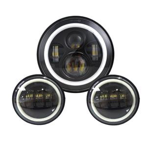 """Image 2 - 7 """"zoll Schwarz Chrome LED Projektor Motor Scheinwerfer + 4 1/2 Vorbei Lichter Für Touring Electra Glide"""