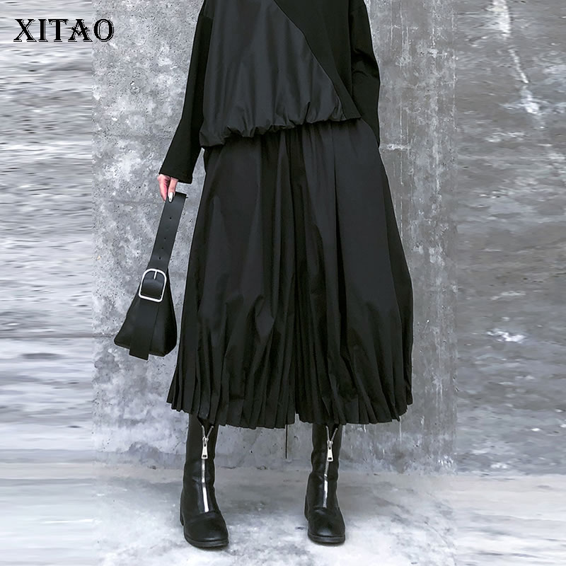 XITAO High Waist Pocket Pleated Pants Women Clothes 2020 Spring New Loose Casual Elastic Waist Match All Wide Leg Pants XJ3425
