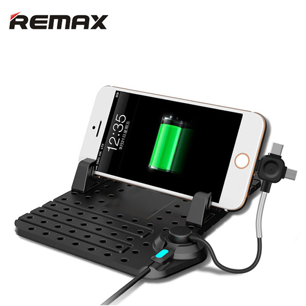 Remax Car phone Holder Soporte ajustable 3 in1 Conector magnético Cable de carga para iPhone 5s 6S 7 8plus xiaomi Samsung Soportes