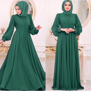 2020 Fashion Style Muslim Women Long Sleeve Plus Size Long Abaya  Woman Abaya  European Clothing Without Headscarf