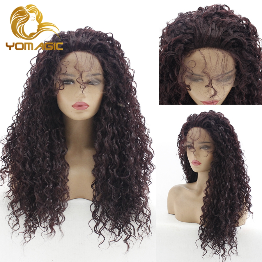 Black Color Lace Front Wigs With Baby Hair Jerry Curly Realistic Glueless Synthetic Hair Wig Natural Hairline