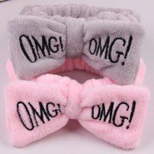 OMG – bandeau en molleton pour femmes, doux, nœud décoratif, lavage du visage, accessoires pour cheveux