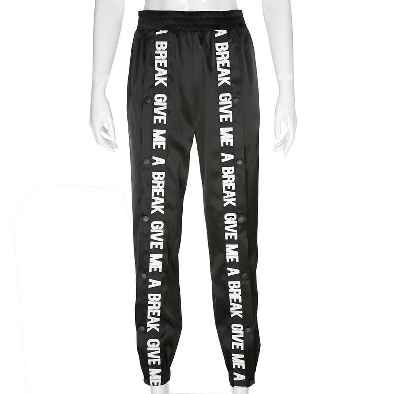 Split Casual Loose Black   Pants     Capris   Elastic High Waist Trousers Harem   Pants   Women Letter Print High Street Sweatpants Joggers