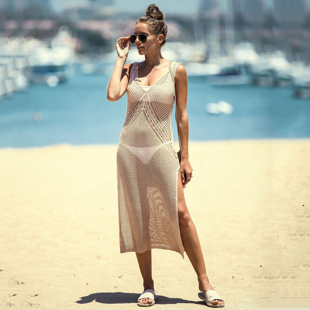 New Knitted Beach Cover Up Women Bikini Swimsuit Cover Up Hollow Out Beach Dress Tassel Tunics Bathing Suits Cover-Ups Beachwear 46
