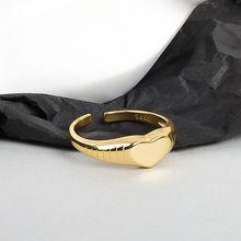 Korea Minimalist Hipster Ring Ins Heart Shape Index Finger Ring Simple Elegance 925 Silver Women Opening Adjustable Rings Copper