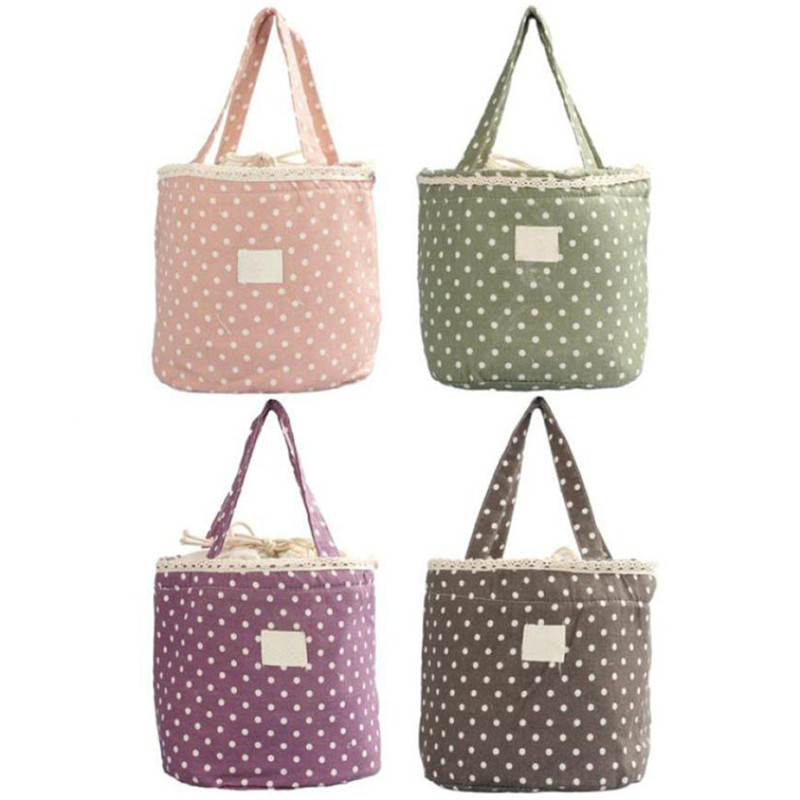 Vogvigo Portable Lunch Bag Polka Dot Thermal Insulated Lunch Box Tote for Cooler Case School Food Storage Picnic Bags in Lunch Bags from Luggage Bags