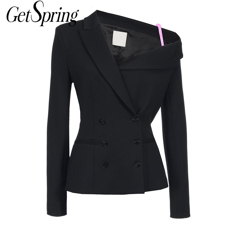 GETSPRING Coat Women Suit Coats Irregular Color Matching Off Shoulder Women Blazers Jackets Black Asymmetry Summer Blazer 2019