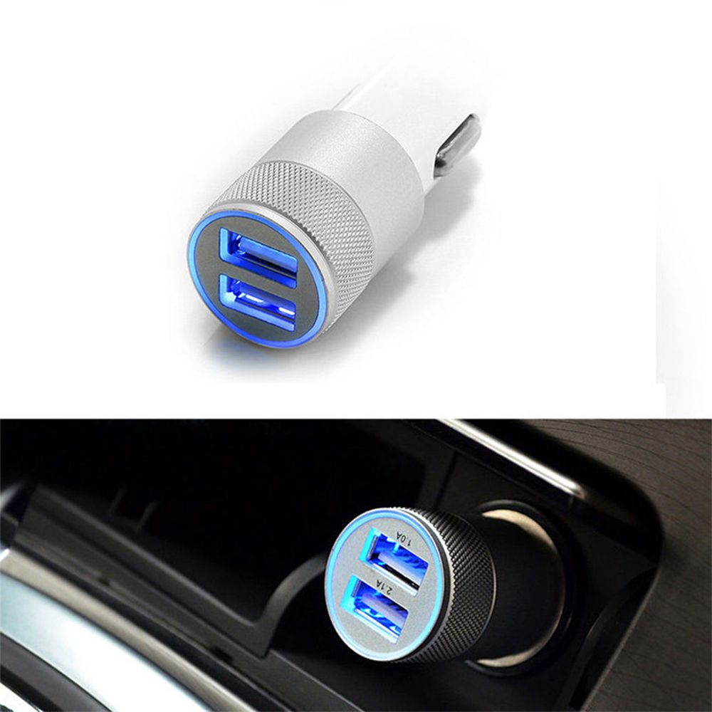 Dual USB Car Charger 2 Port Adapter Auto Vehicle Metal Charger For Smart Phone/Tablet High Quality