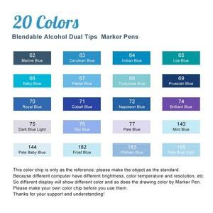 Image 3 - 20 สีศิลปิน MARKER ปากกา Blendable เครื่องดื่มแอลกอฮอล์ชุดสีฟ้าสำหรับ Ocean Sky แฟชั่นและออกแบบตกแต่งภายใน