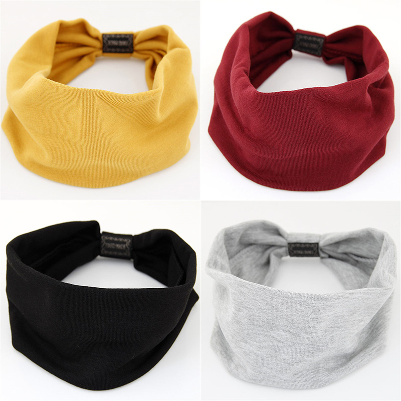 Fashion Solid Colors Big Wide Cotton Headband For Women Hair Accessories Korean Soft Elastic Head Band Jewelry Girl Sport Turban