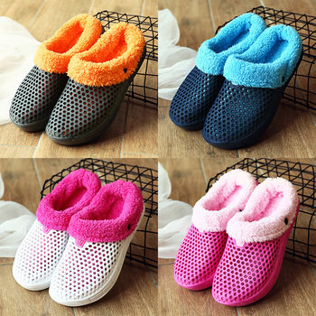 STS Women Slippers Winter Fur Unisex Shoes Warm Ladies Indoor Sandals Female Loafers Plus Velvet Clogs Garden