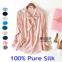 Women's 100% Pure Silk Solid Tie bow Neck Shirt Top Blouse in 10 colors JN009