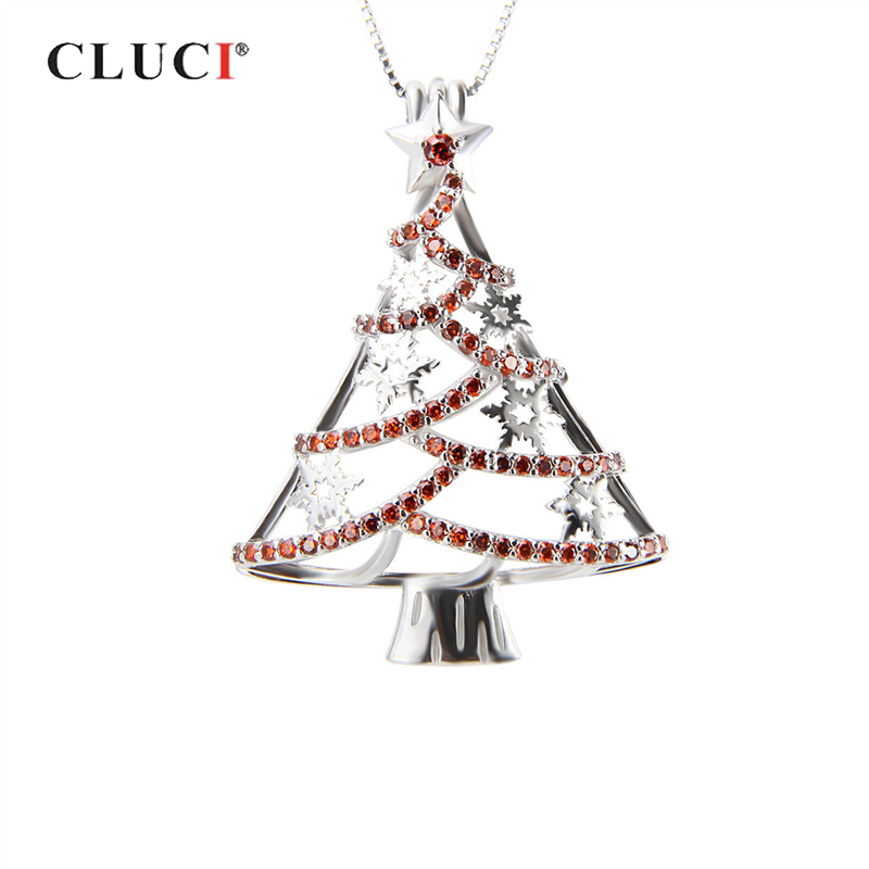 CLUCI 925 Silver Christmas Tree Charms Pendant 71pcs Zircon Luxury Women Christmas Gift Pendant 925 Sterling Silver Pearl Locket