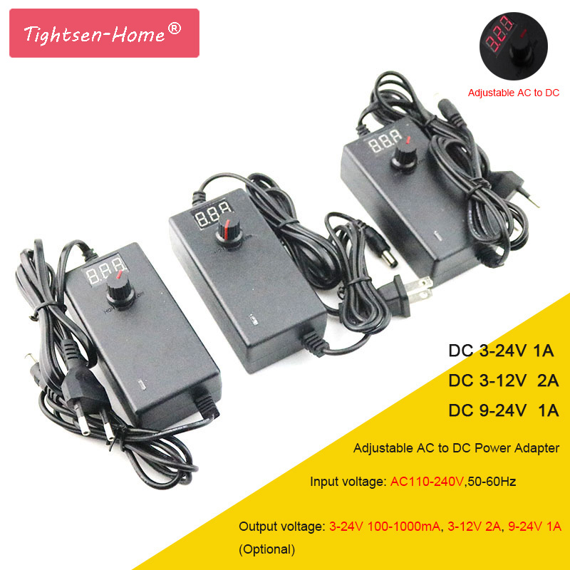 Adjustable AC to DC 3V-12V 3V-24V 9V-24V Universal <font><b>adapter</b></font> with display screen voltage Regulated power supply adatpor 3 <font><b>12</b></font> 24 <font><b>v</b></font> image