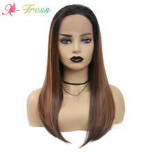 Wigs Lace-Wig Dark-Roots Brown Natural-Hairline Heat-Resistant Synthetic X-TRESS Women