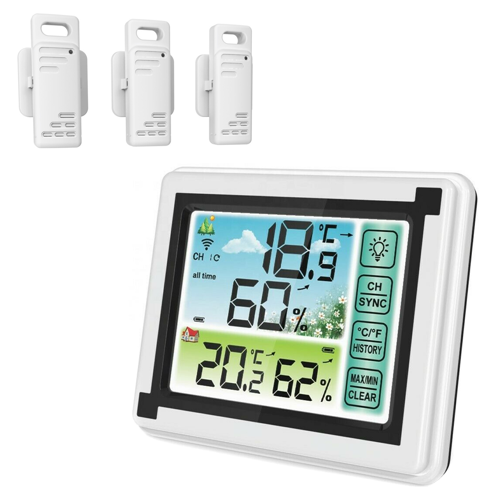 LCD Weather Station Digital Thermometer Hygrometer Indoor Outdoor Temperature Monitoring Device _WK