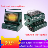 Portable Stainless steel Outdoor Camping Gas Heater Stove Portable Dual Purpose Gas Heating Warmer Cooking Stove Camping Stove