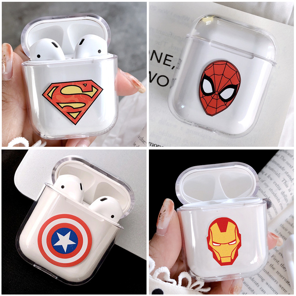 Marvel Captain America Shield Superhero Case Cover For Apple Airpods Spiderman Case Cute Wireless Bluetooth Earphone Cover