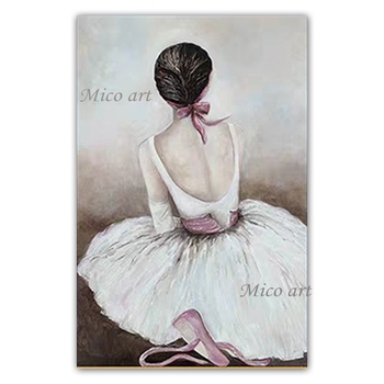 Sexy Woman Dancing Ballet Handmade Girl Figure Canvas Oil Painting Artwork Wall Canvas Unframed Art For Hotel Bedroom Decoration