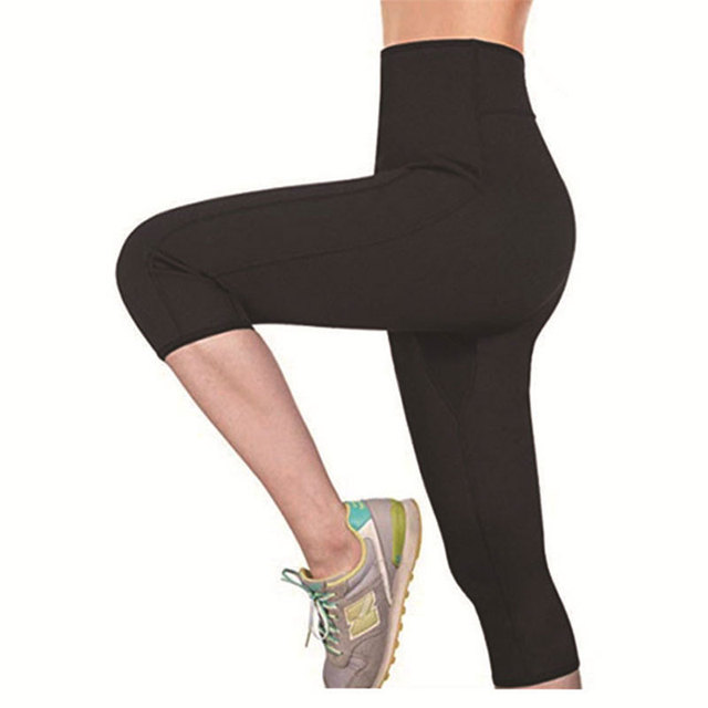 Women Sauna Yoga Pant Capris Leggings Fat Control Sweat Legging with Waist Trainer Belt Hot Sweat Shaper Pants Neorene Wetsuit 3