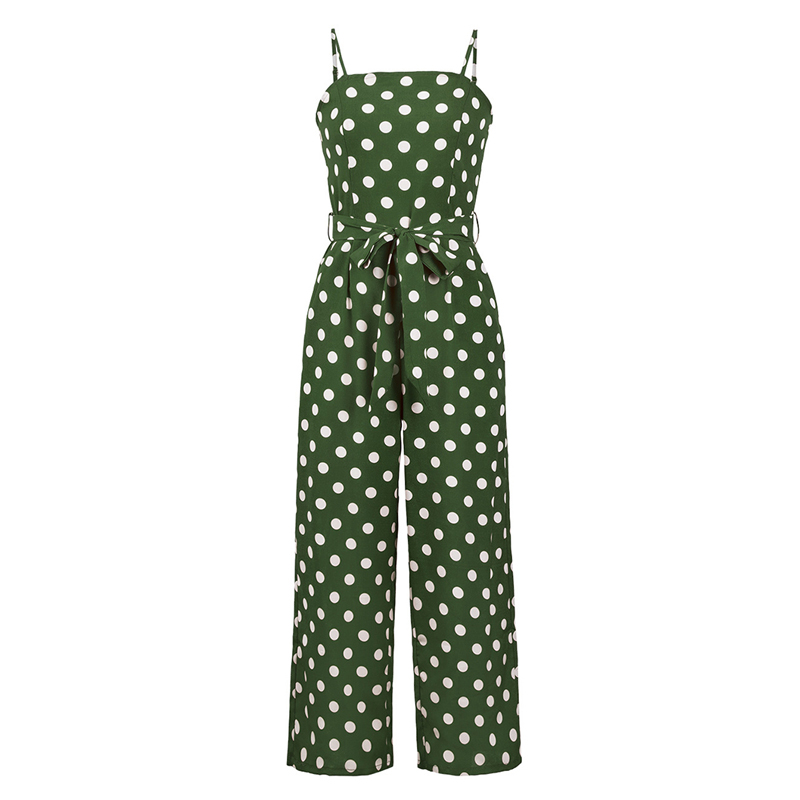 GOPLUS Spring Sashes Bow Polka Dot Vintage Jumpsuit Women Strap High Waist Sleeveless Jumpsuit Lady Wide Leg Jumpsuit Plus Size in Jumpsuits from Women 39 s Clothing