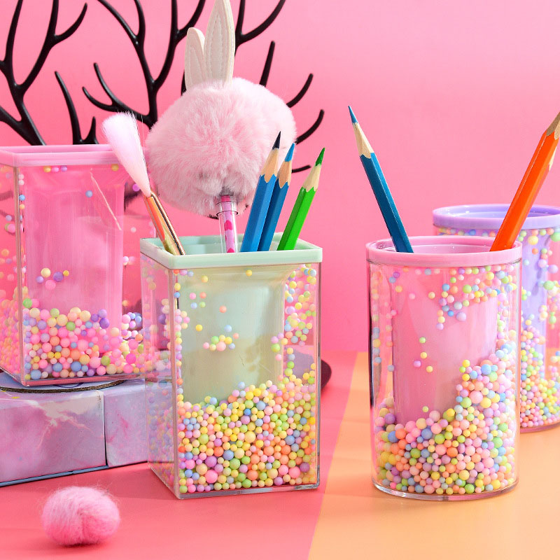 Creative Rounded Square Shape Pencil Case Cute Pink Transparent Pen Holder Large Capacity Storage Box For School Stationery Box