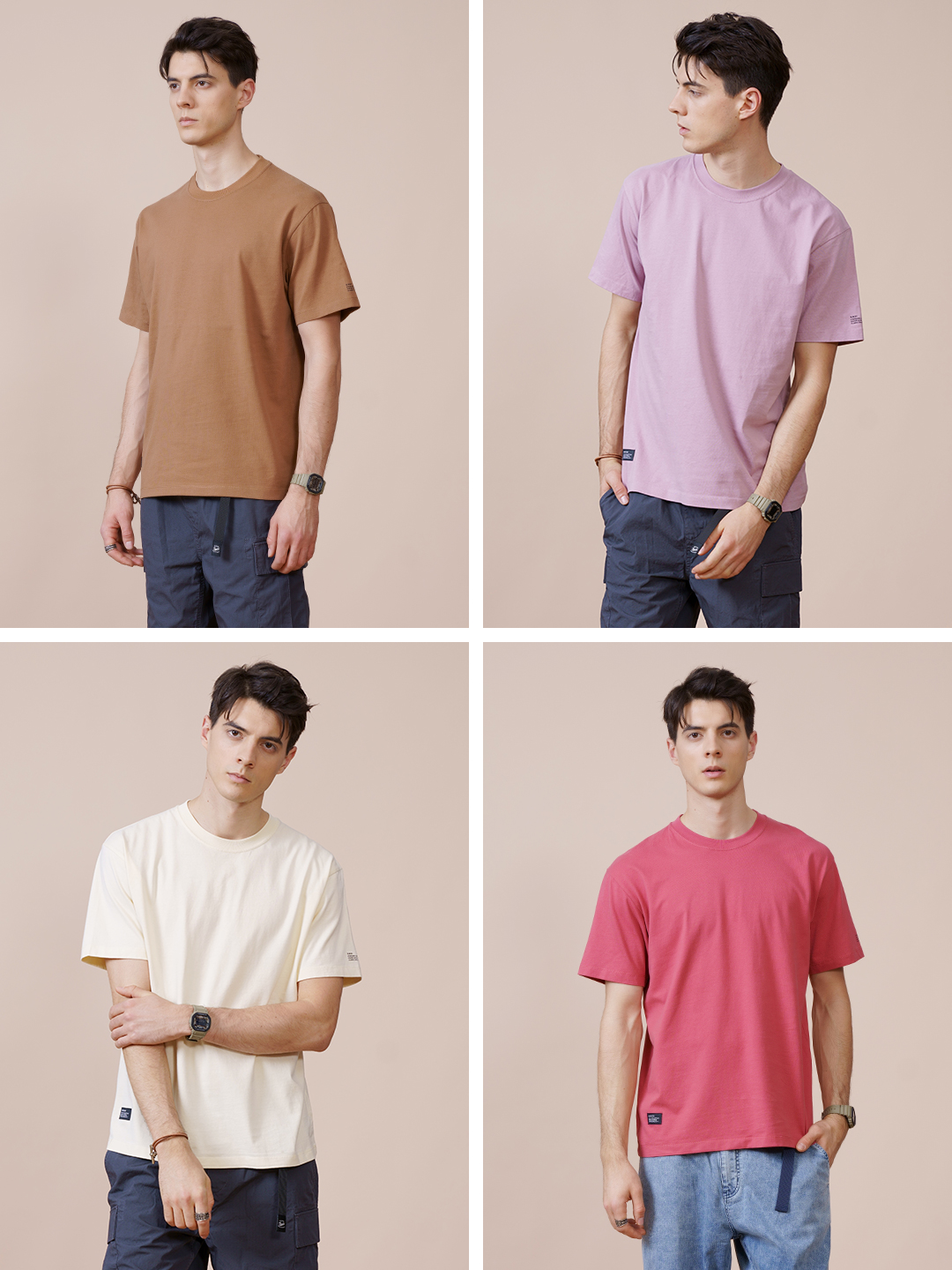SIMWOOD 2021 Summer New 250g 100% Cotton Fabric T-shirt Men High Quality Solid Color Drop Sleeve Loose Tshirts Oversize Tops 4