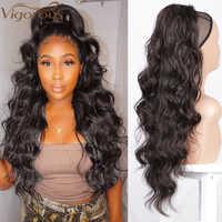 Coleta ondulada de cuerpo largo vigoroso para mujer, extensión de cabello sintético, Clip en peluca, cabello falso negro